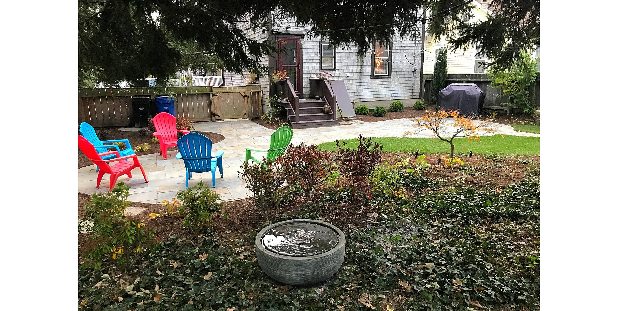Backyard Patio with Fountain