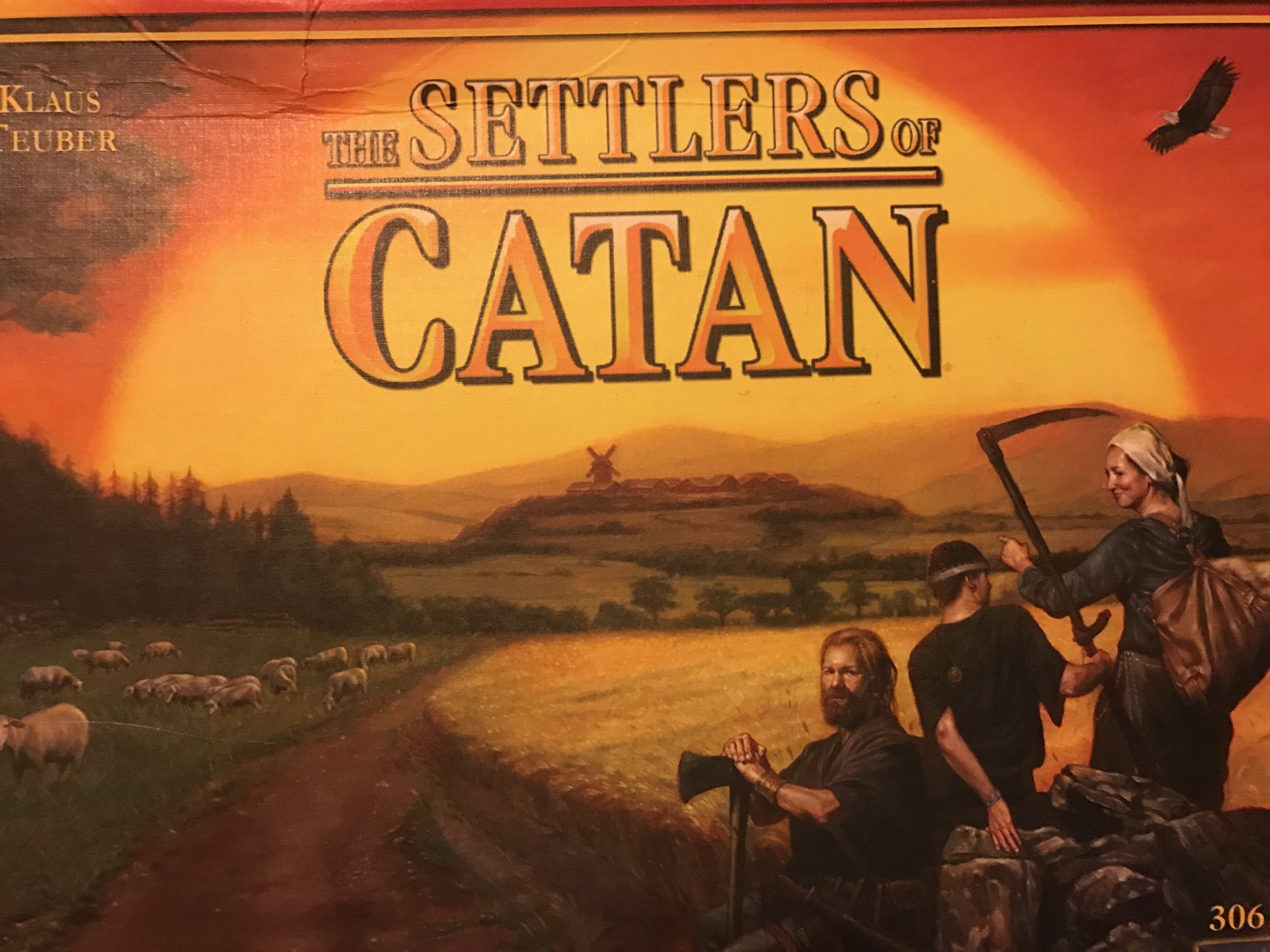 Settlers of Catan old-school box art before they shortened the name.