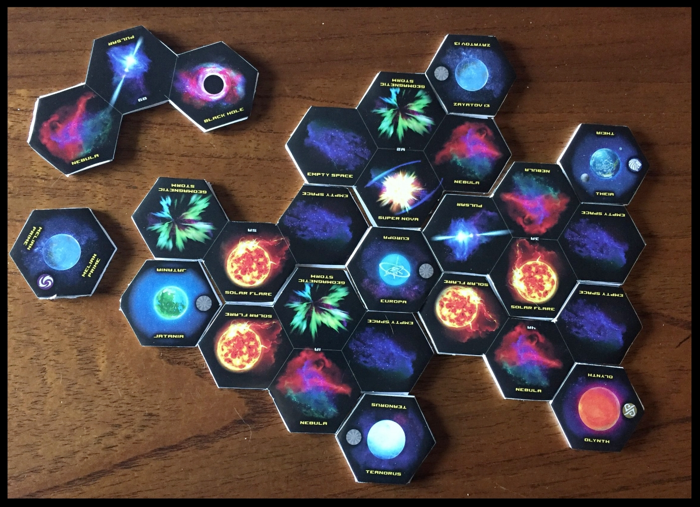 Setup for Scenario 1 of the campaign. Extra tiles are to the left and top left for readers to see how the pieces go together. So many beautiful Cosmic Conditions. So much damage to be had...