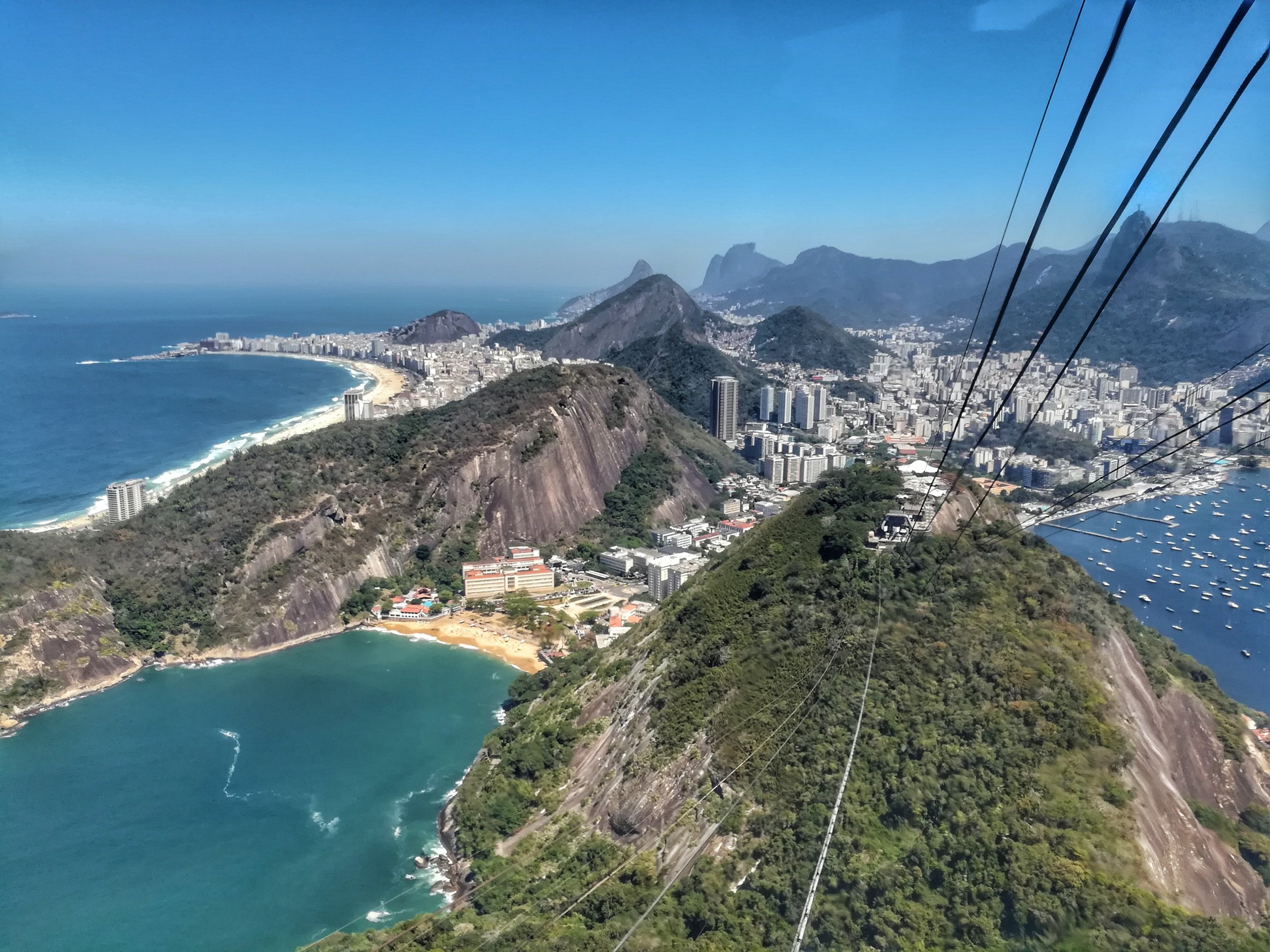 On the cable car up to sugarloaf mountain!