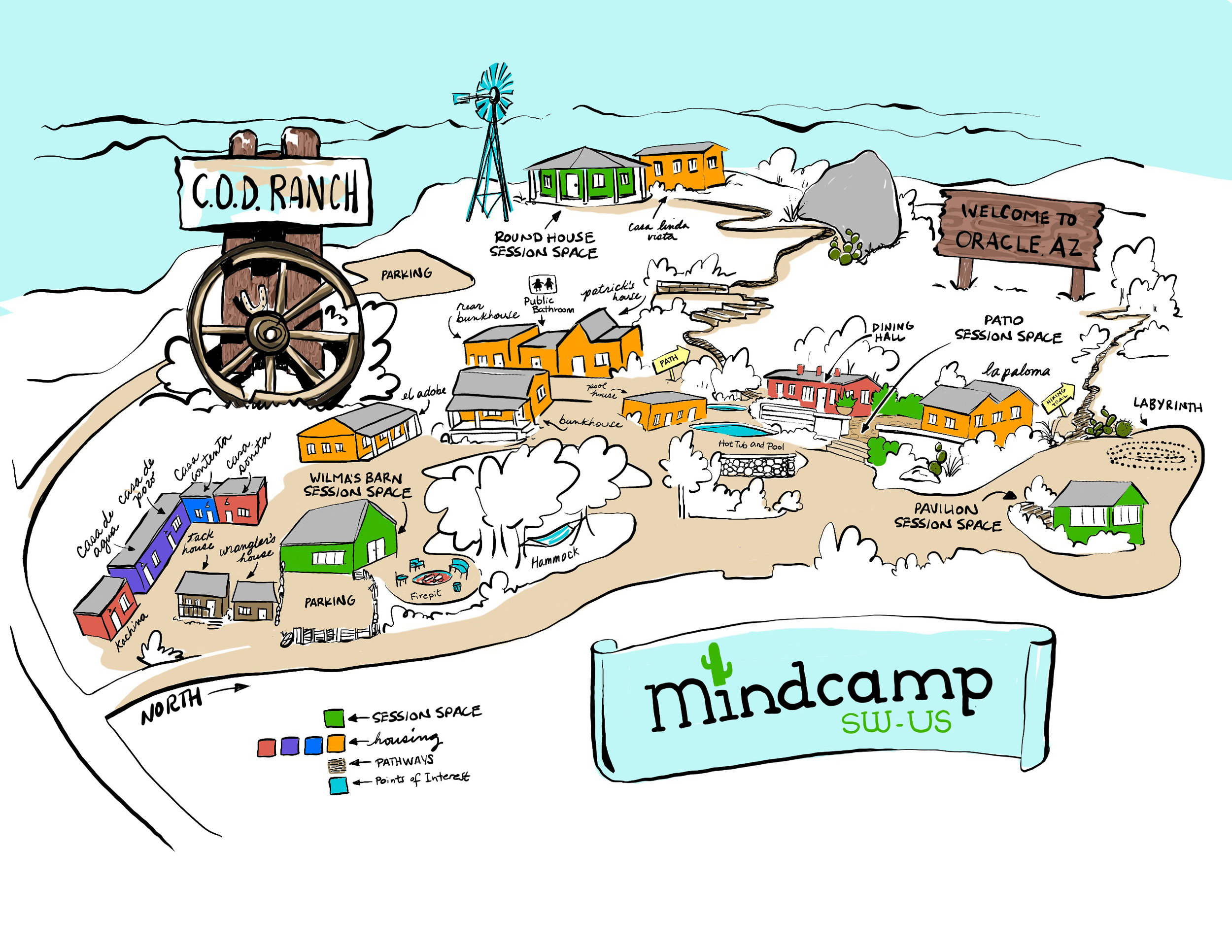A hand-drawn of Mindcamp Southwest map created by the talented Mindcamp attendee Sarah Spencer of  26 Letters.