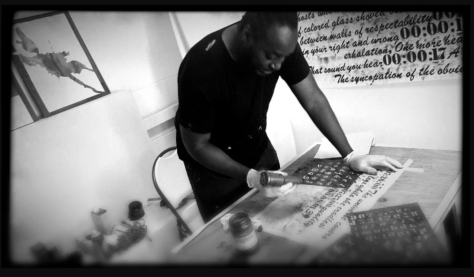 stARTup SF 2015, LA 2016, CHI 2016    exhibitor Rodney Ewing working in his studio