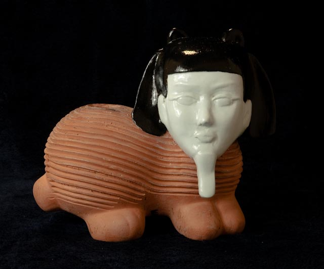 Kathy Aoki,   Chia Gwen (Sphinx with Pharoah's Beard and Bob), 2062 AD   Terracotta with mixed glazes. Part of the original Gwen Stefani Mortuary Temple excavation, begun in 2468 AD.