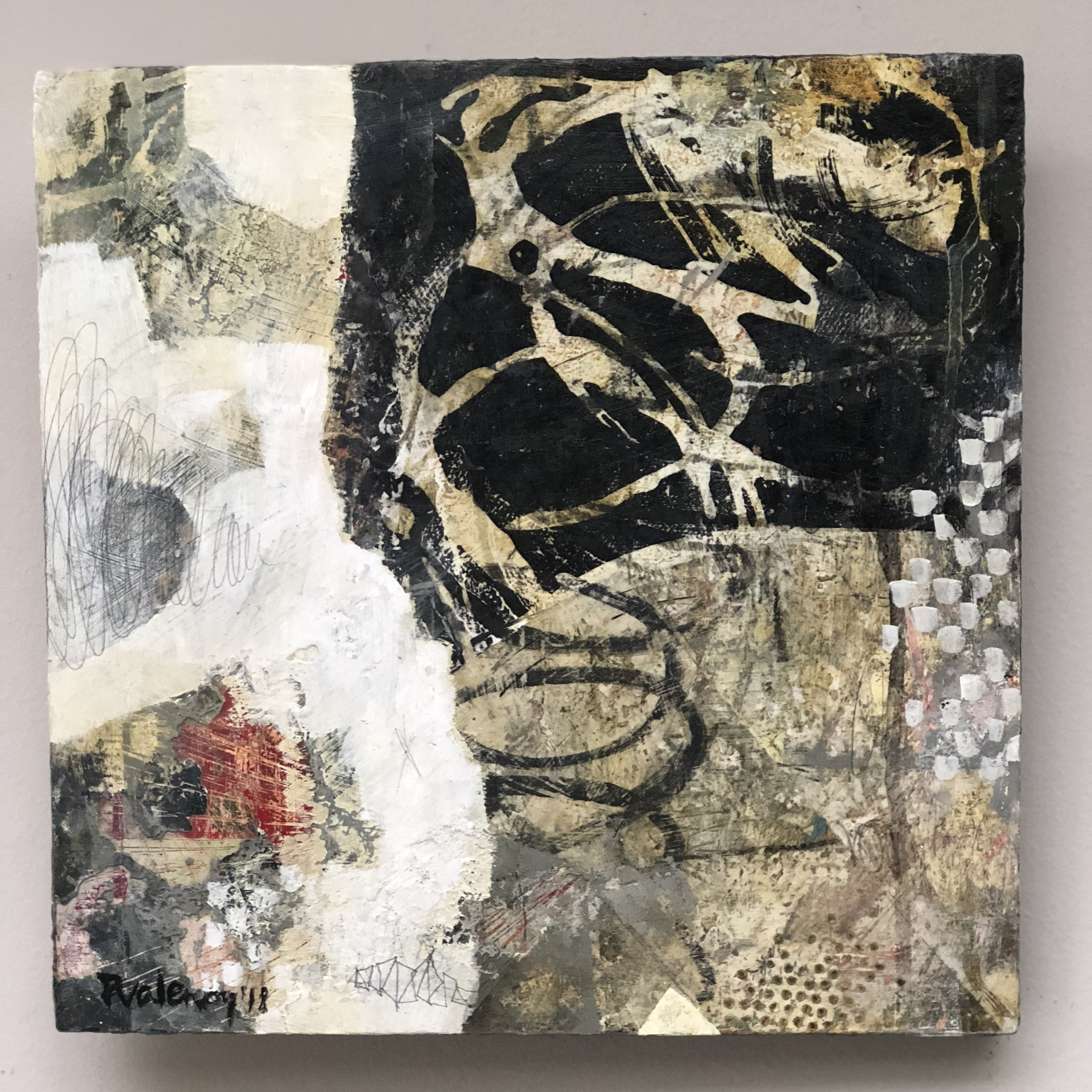 """About Growing   Mixed-media painting on Panel / Board / MDF  by  Paula Valenzuela   Size: 14 x 14""""   $550.00"""