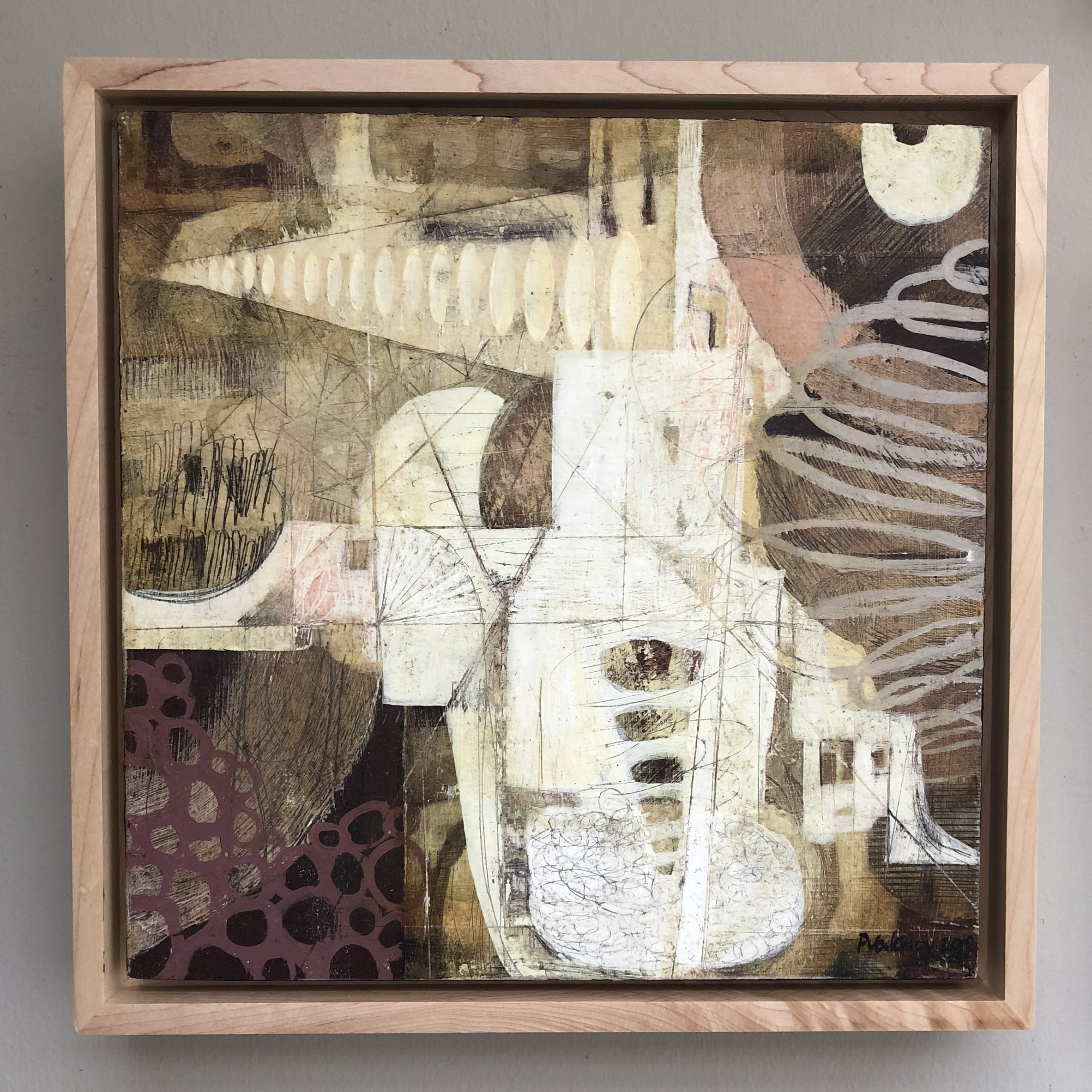 """Imaginary Space   Mixed-media painting on Panel / Board / MDF  by  Paula Valenzuela   Size: 14 x 14""""   $550.00"""
