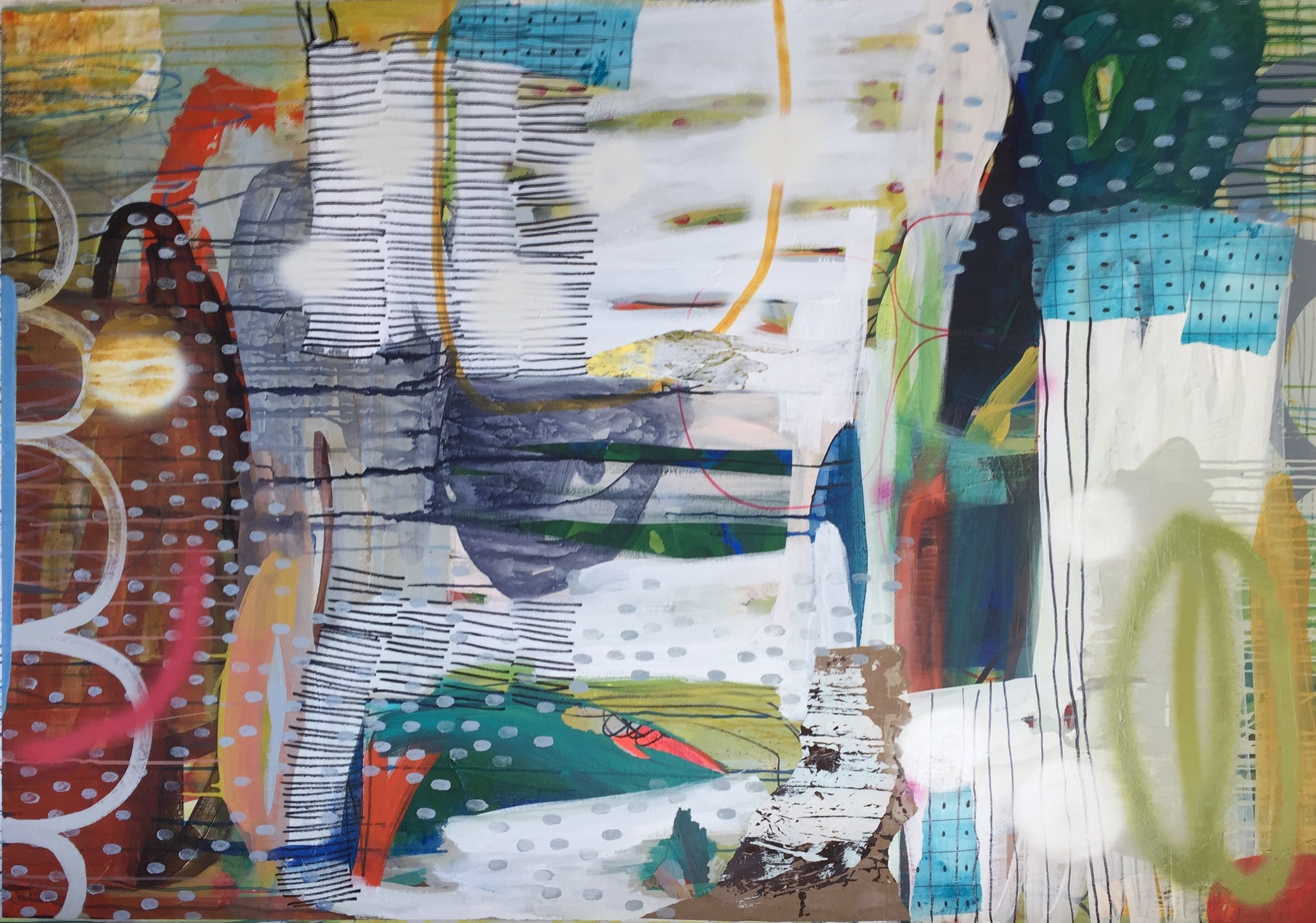 Loquacious #4 , Mixed media on canvas, 48 x 60 in.  Available at Jennifer Perlmutter Gallery