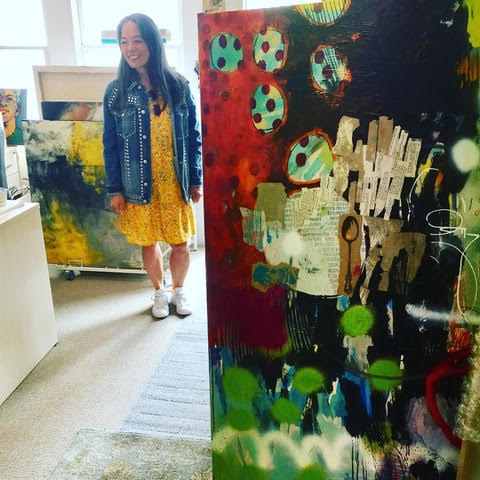 Victoria dropping off work at Jennifer Perlmutter Gallery in 2017