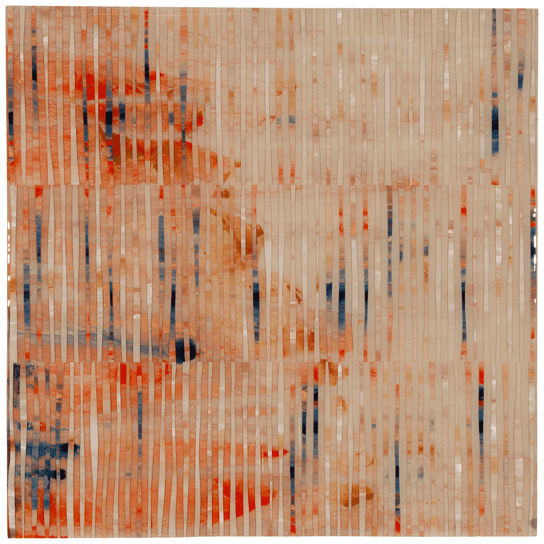 """Golden Runs 1   Mixed-media painting on Panel / Board / MDF  by  Laura Hapka   Size: 24 x 24""""    $2,300.00"""