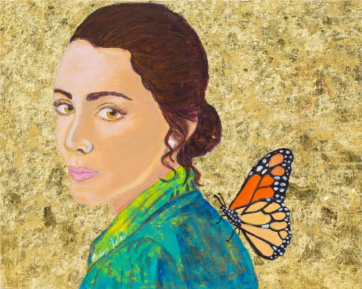 "Monarch Soul   Acrylic painting on Panel / Board / MDF  by   Belen Islas    Size: 11 x 9""   $1,000.00"
