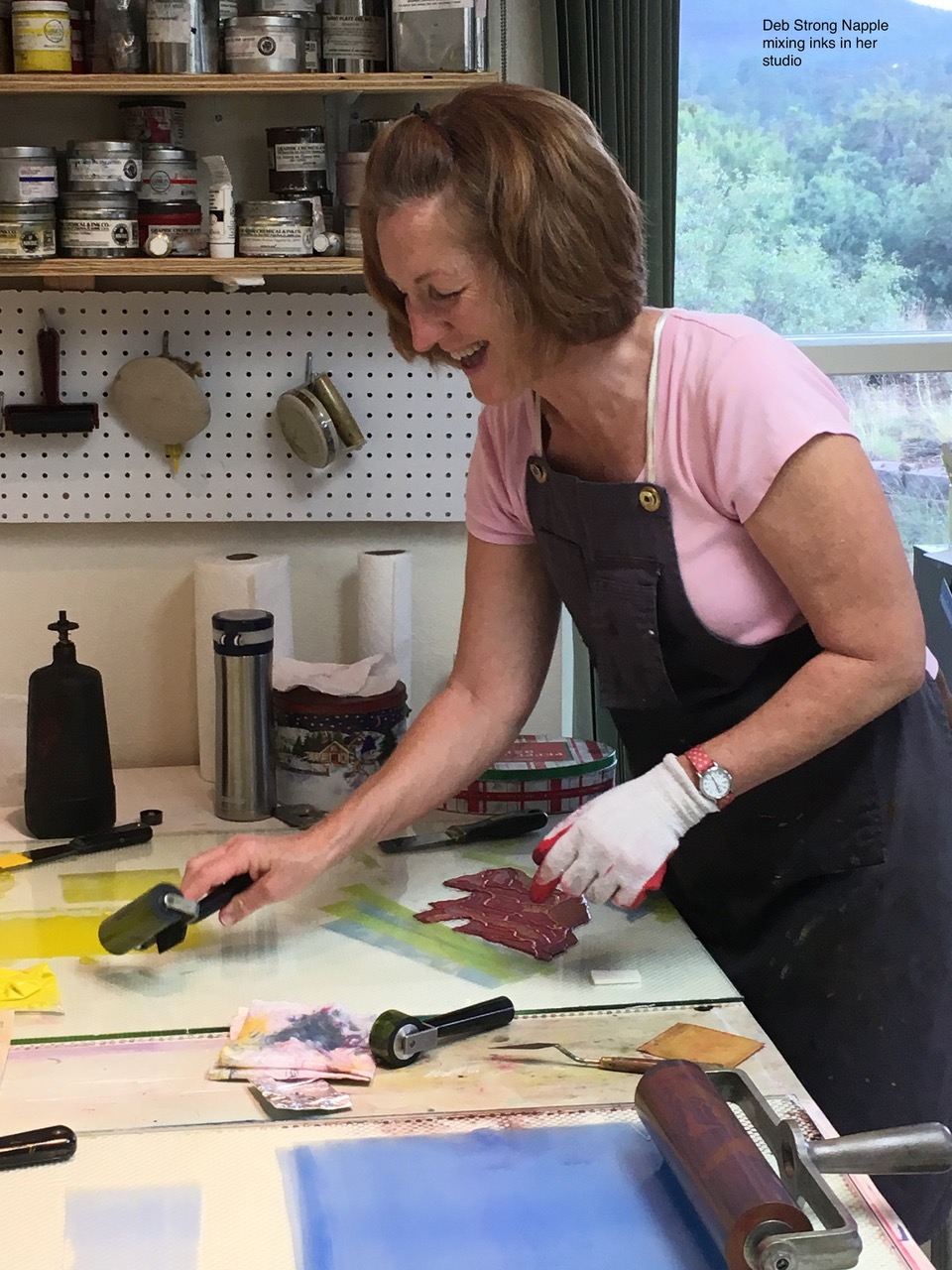 Deb Strong Napple working in her studio