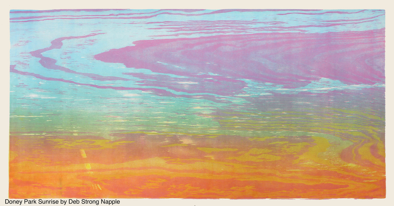 "Doney Park Sunrise   Woodcut on Paper  by  Deb Strong Napple   Size: 48 x 24""   $2,650.00"