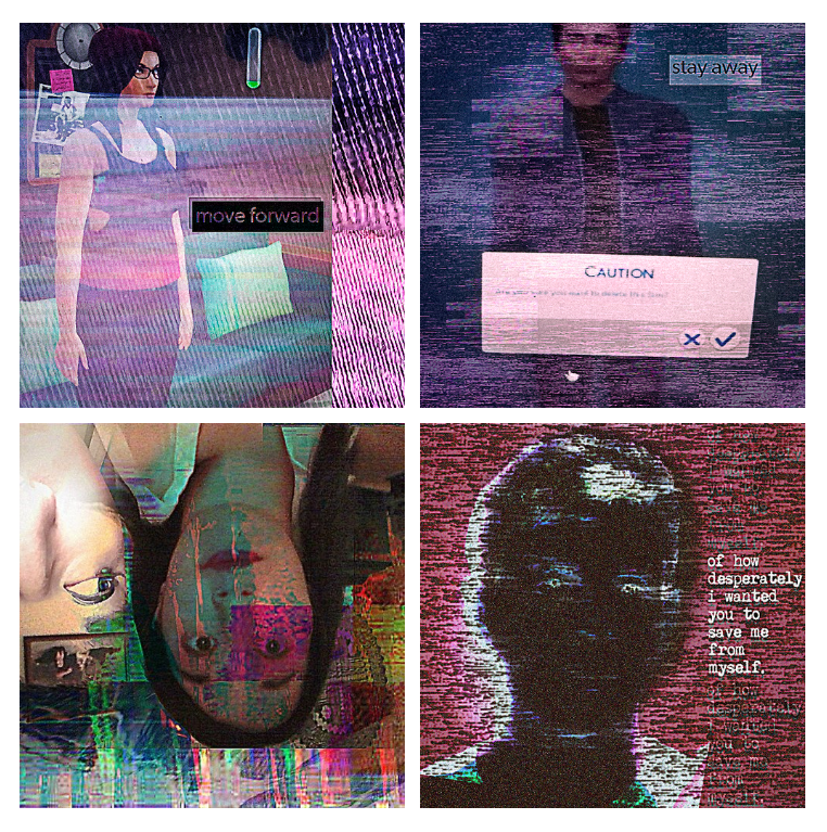 Selections from Mica's Neo Recovery series, inspired by glitch art and simulation software