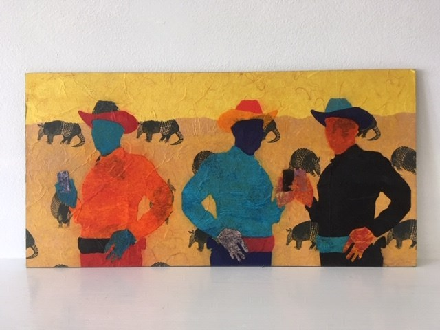 Cowboys Relaxing on Armadillo Ranch  by  Miles Epstein , Tissue on aluminum, 11 x 16 in.