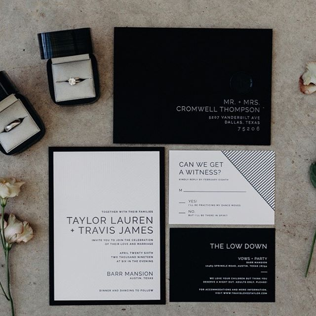 So fresh and so clean! Our Parker Suite had a makeover in black and white for Taylor and Travis' big day. ⠀⠀⠀⠀⠀⠀⠀⠀⠀ --- Photography / @gloriagoodephoto Planning / @bashcoevents #modernwedding#design#graphicdesign #typography#weddingdesign#designinspiration#weddinginvite #weddinginvitation#weddinginspo#weddingstationery#laweddings #weddinginvite#stationery #ocwedding #makersgonnamake #socalwedding #brides #californiawedding #dailydoseofpaper #invitations #socalbride #engaged #weddingideas