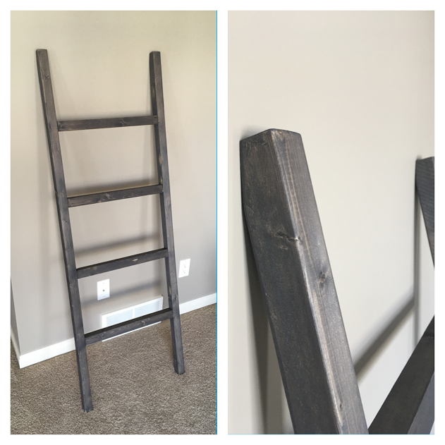 Small Blanket Ladder $60 - Dimensions - 5' T{In Dark Grey stain}