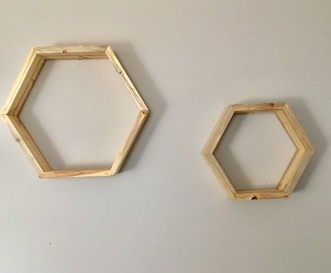 Hexagon Shelf Set $50 - Natural wood with clear finish