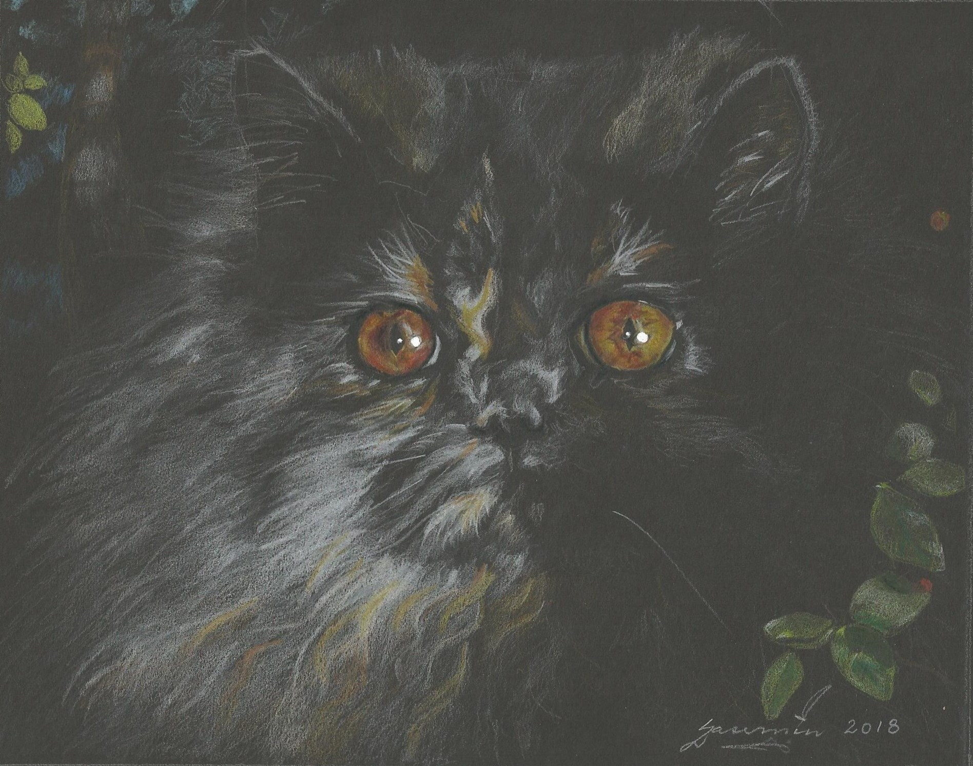 """""""Lil' and the Huckleberry"""", 8 x 10"""", $400, Coloured Pencils on Black Paper"""