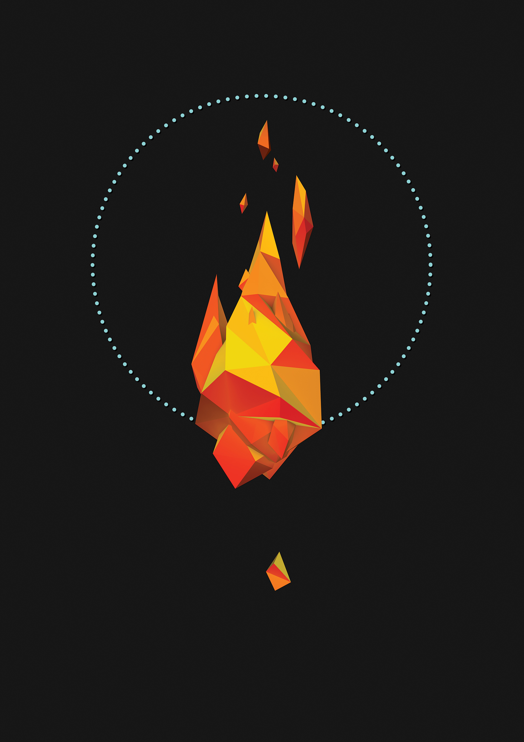 Miguel Gonzalez  'Fire' $450 framed | $300 unframed
