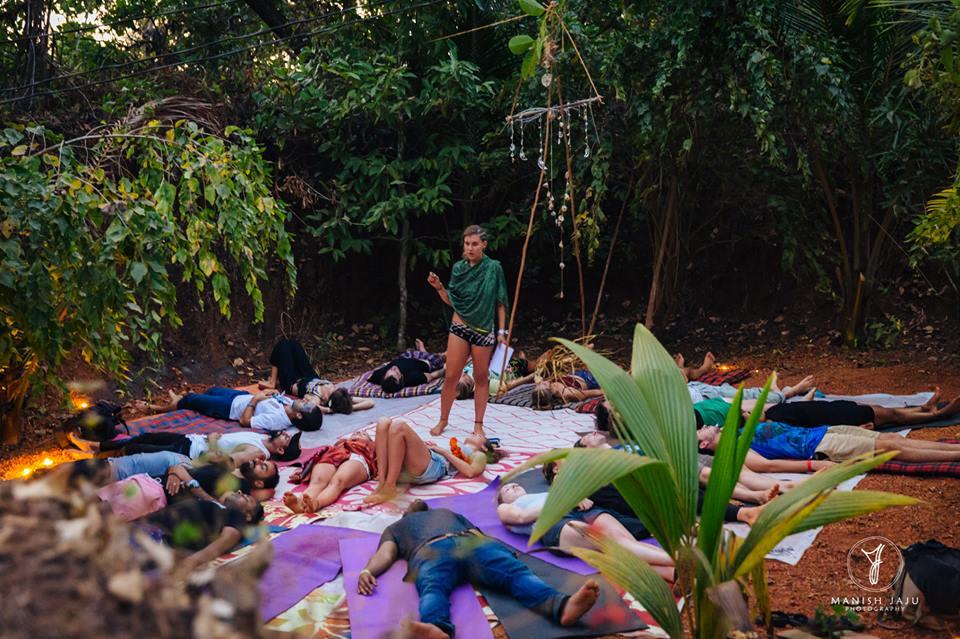 Alyse guiding a powerful Yoga Nidra Practice