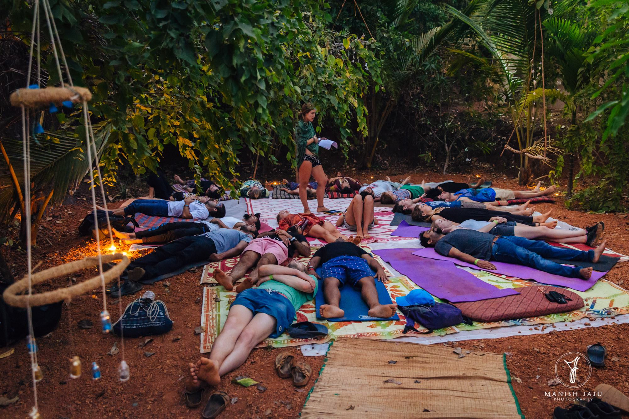 Alyse guiding a sunset Yoga Nidra at Sundowner's Festival 2018