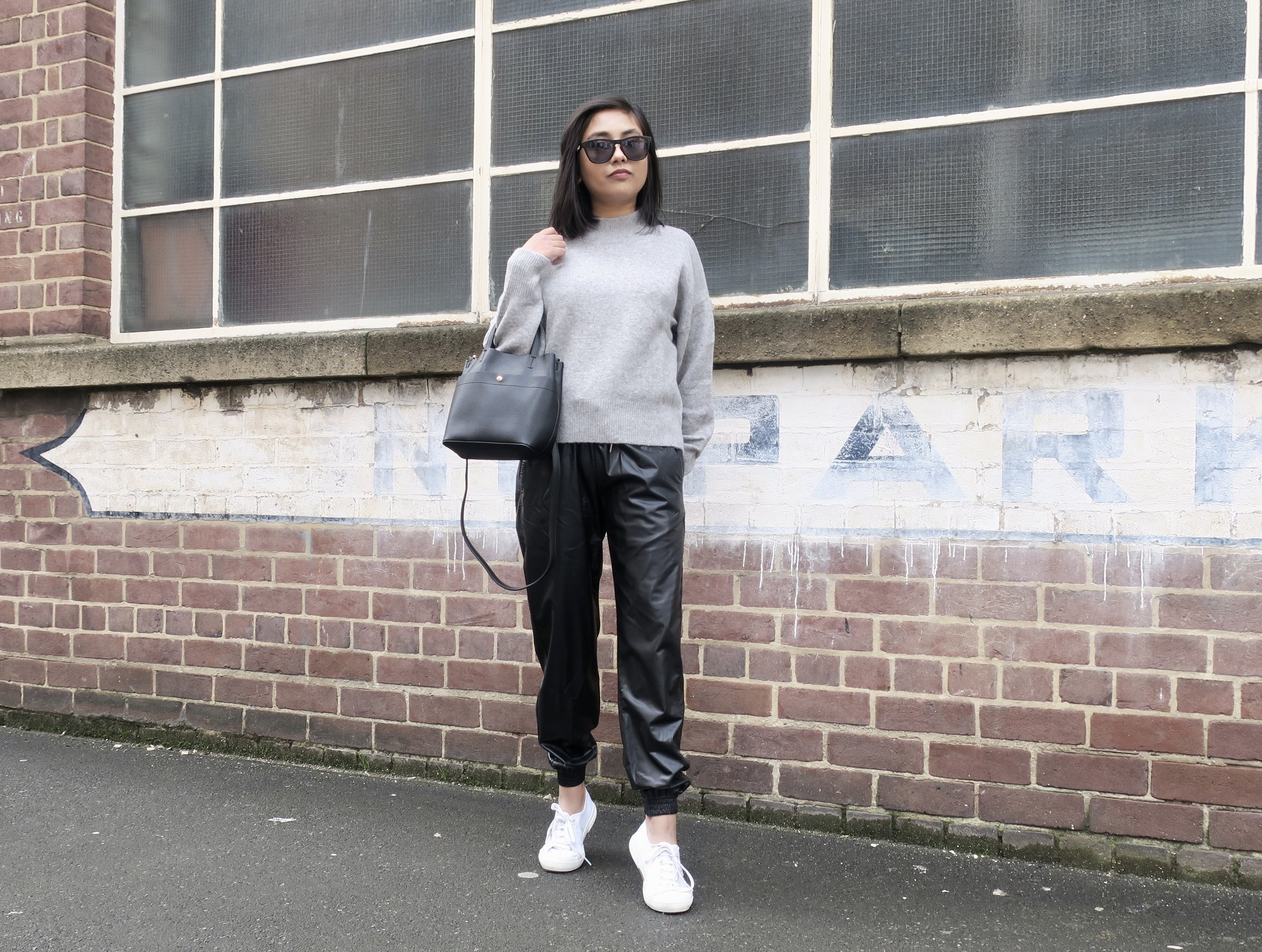 Zara Trousers ZW Premium Jogger Faux Leather (£29.99) ,  & Other Stories Mock Neck Sweater (£35.00) ,  Superga 2750 Classic Canvas Trainers in White (£50.00)