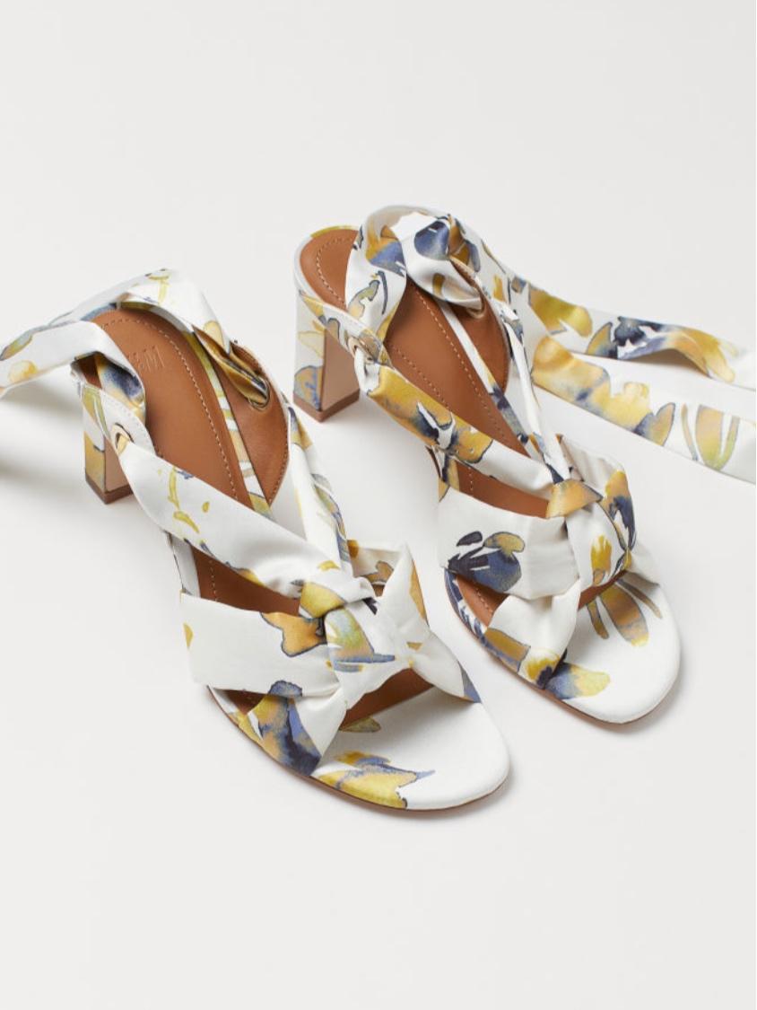 H&M Satin Sandal White/Flowers (£34.99)