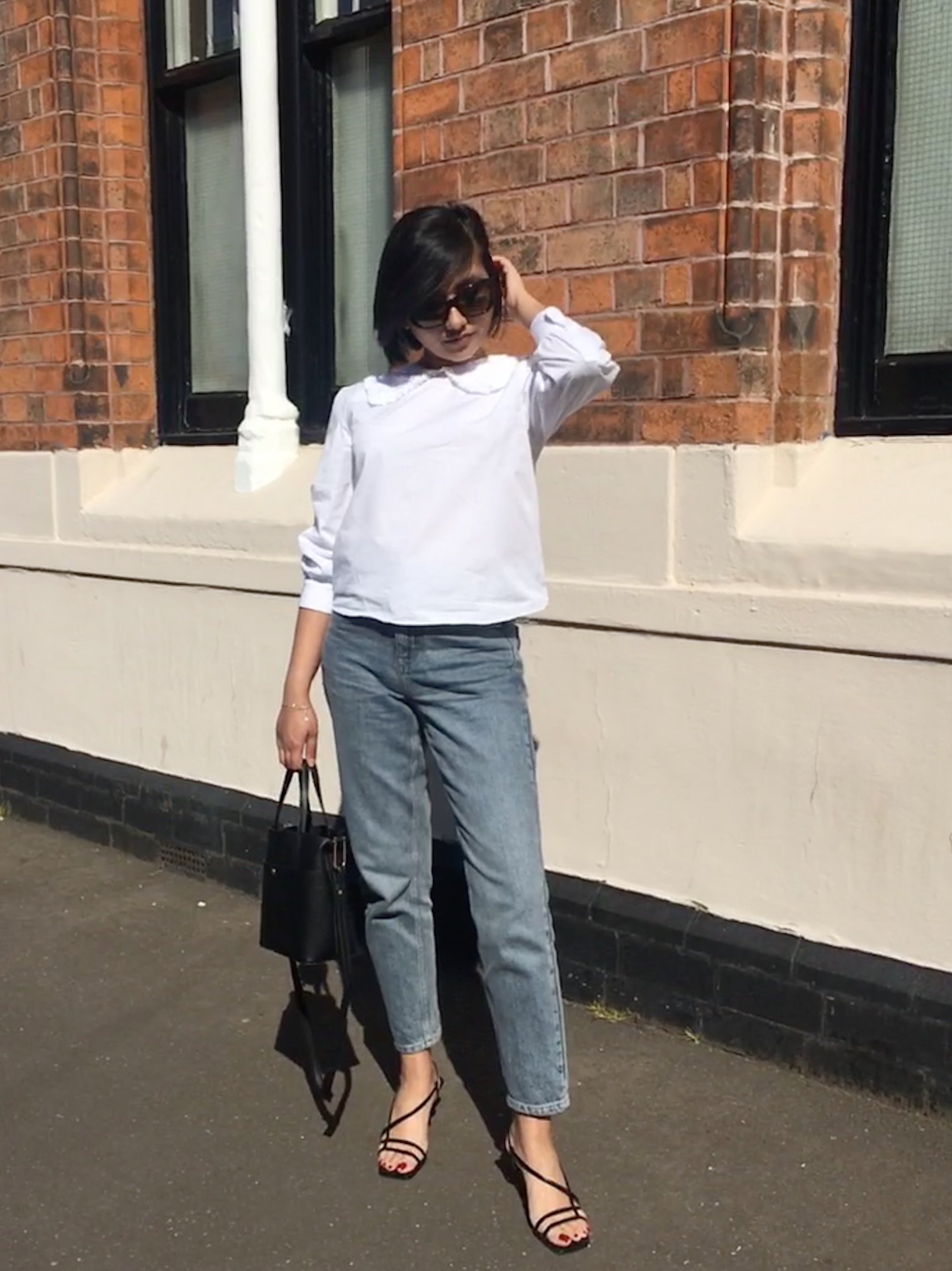 Zara Poplin Shirt (£29.99) ,  Topshop MOM Jeans (£40.00) ,  Topshop Strippy Heeled Sandals - only snakeskin version now available (£39.00)