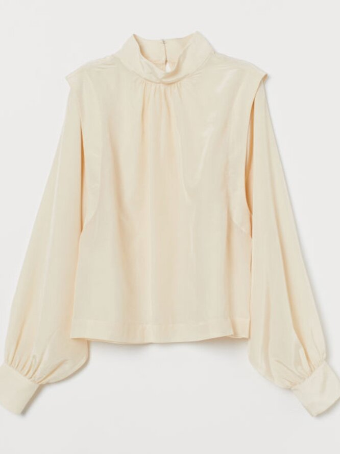 Blouse With Stand-Up Collar (£34.99) - H&M