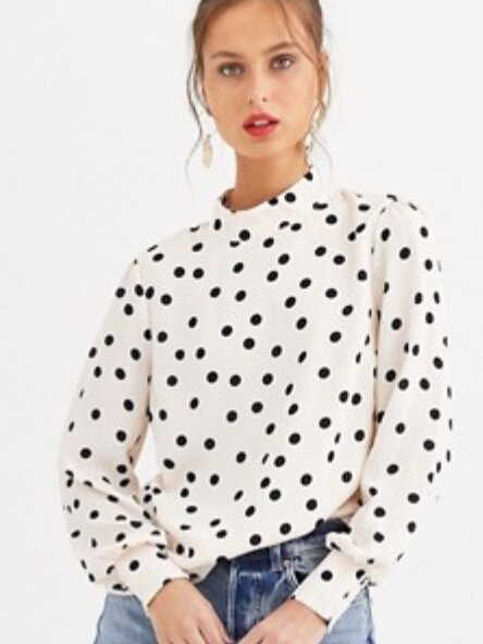 High Neck Polka Dot Blouse (£39.00) - ASOS