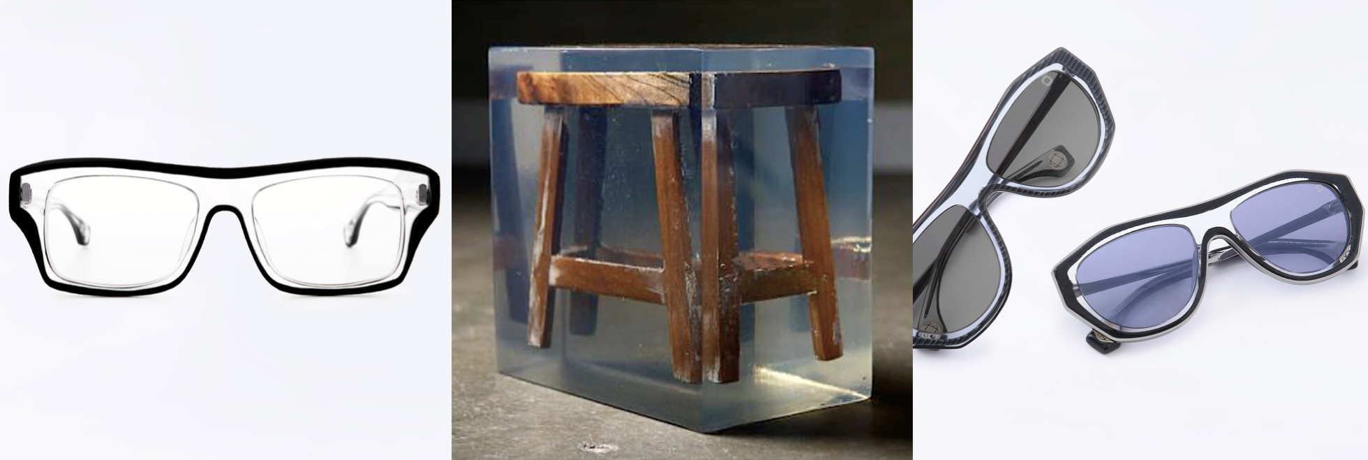 Inspiration behind Blake Kuwahara's Eyewear: An antique wooden stool displayed that was encased in a clear Lucite block .