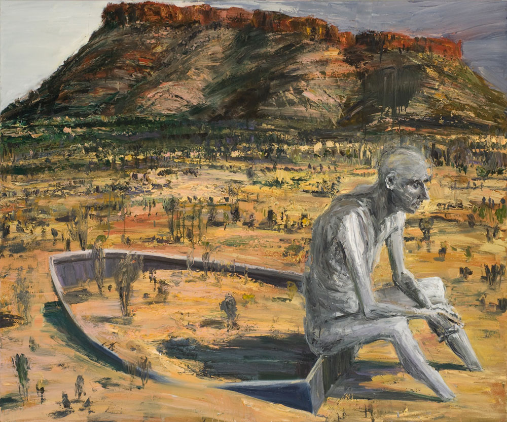 Figure Sitting On Boat In Desert,  2007