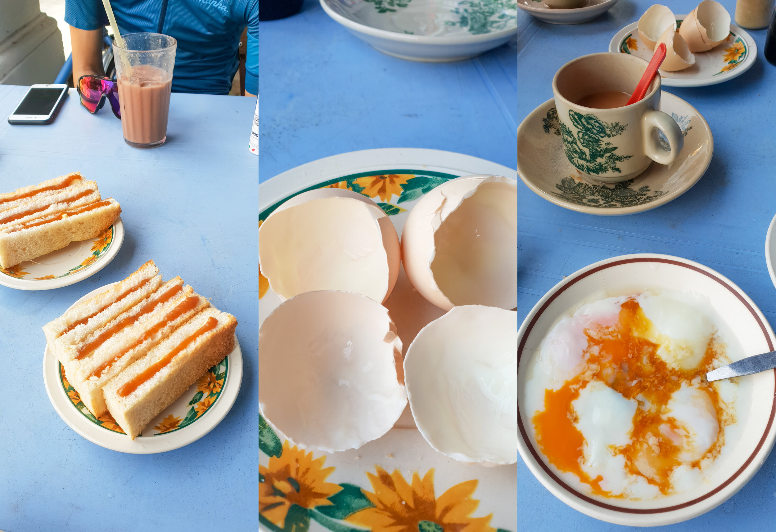 08:15 Free range eggs & toast amounting to less that 5 ringgit per person