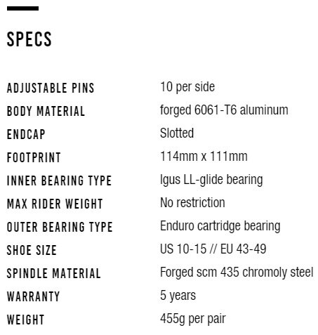 Specs for Large