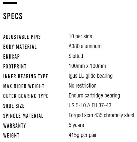 Specs for Small