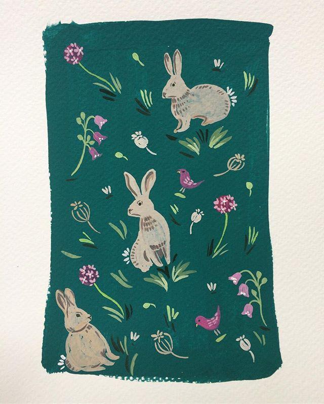 Print design to help me stay calm. #woodland #spoonflower #spoonflowermakers #illustration #bunniesofinstagram #makersgonnamake