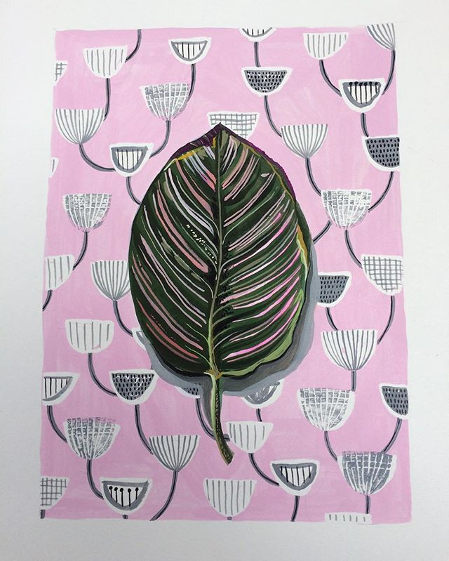 Leaf on mid century fabric . . #100dayproject #the100dayproject #houseplants #surfacepattern #pink #walldecor #friday #makersgonnamake #etsy #postelectionblues #illustration