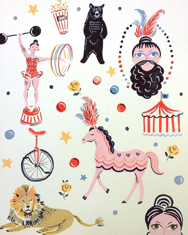 Today is one of those days when I think of running away to the circus! #postelectionblues #100dayproject #illustration #stationary #circus #beardedladies #saturday #surfacepattern #strongwomen #patternobserver