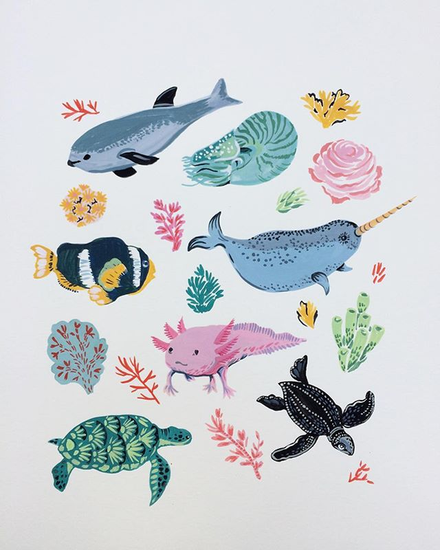 Endangered sea creatures with coral. . . #the100dayproject #100dayproject #endageredspecies #sealife #illustration #artwork #surfacepattern #coralreef #acrylics #greenpeace #artlicensing