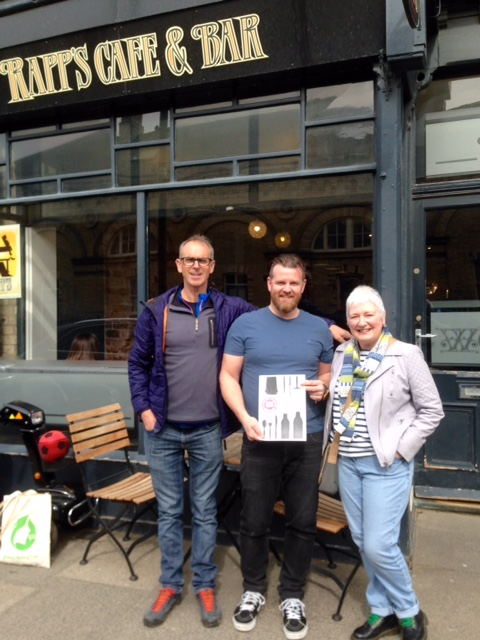 Centre: Greg Beaty from Grasers, The Guns Bar and Rapps receiving certificate from Simon Palmer, SAS (Left) and Barbara Helen from Plastic Free Coastlines Redcar and Cleveland.
