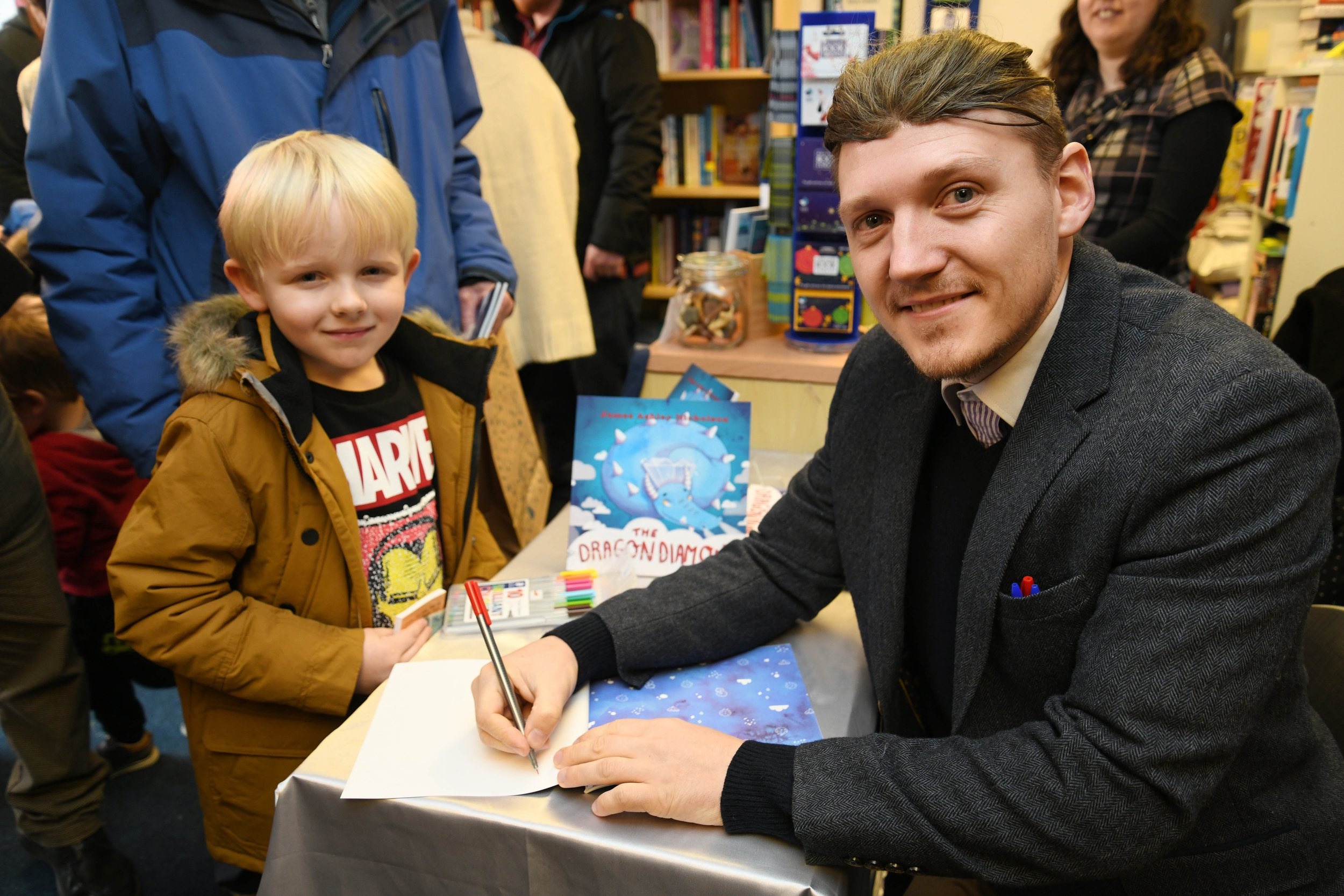 James Nicholson, author of The Dragon Diamond with Olly Campbell-Mitchell at The Book Corner signing event.