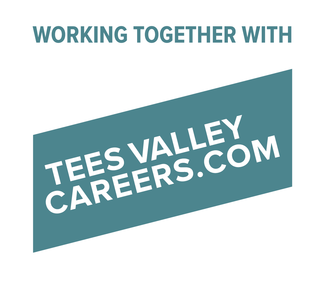 Teal and white Tees Valley Careers.com logo