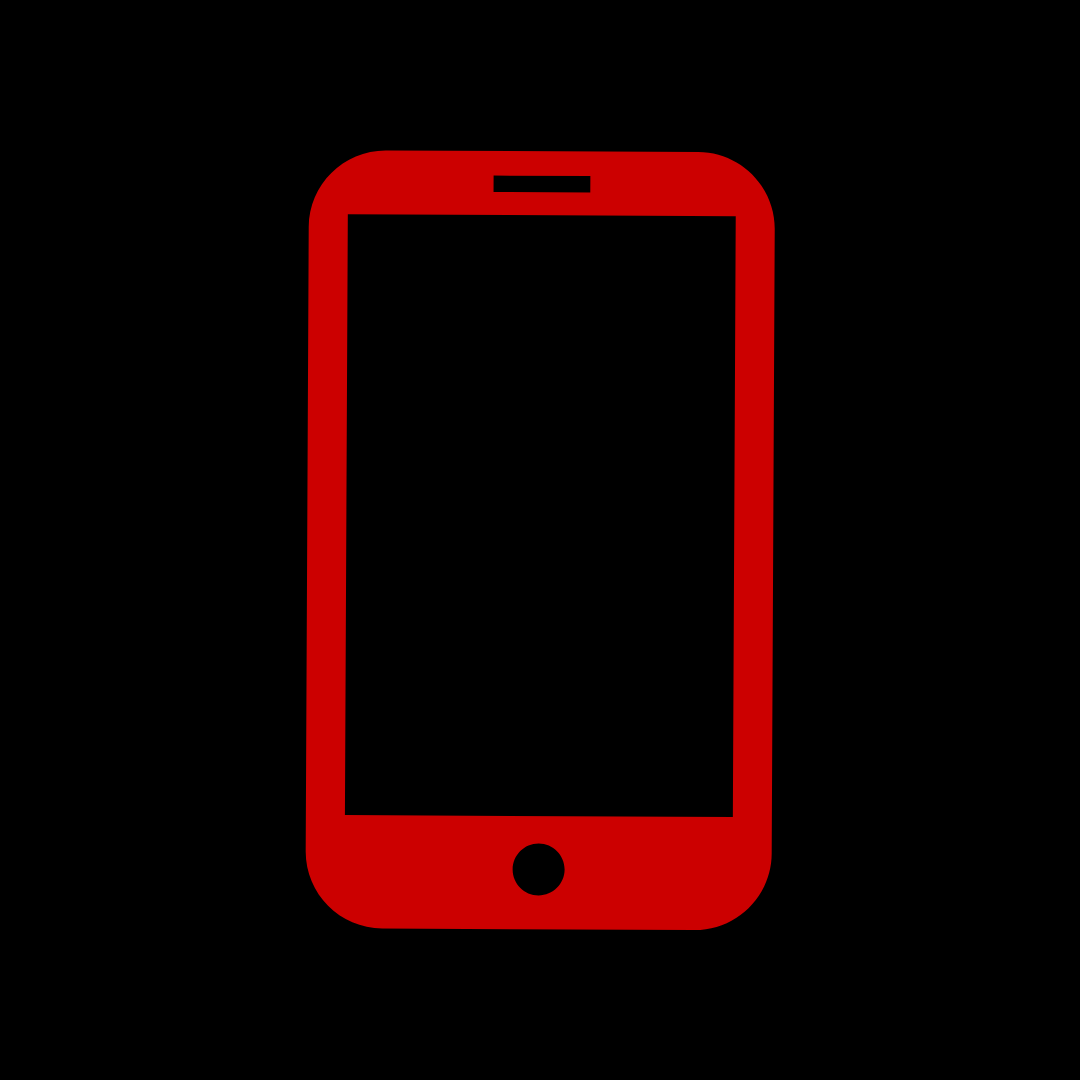 Illustration of red outline of mobile phone on a black background