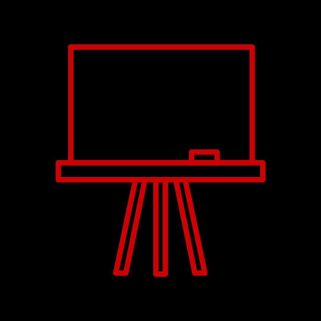 Illustration of red outline of blackboard on a black background