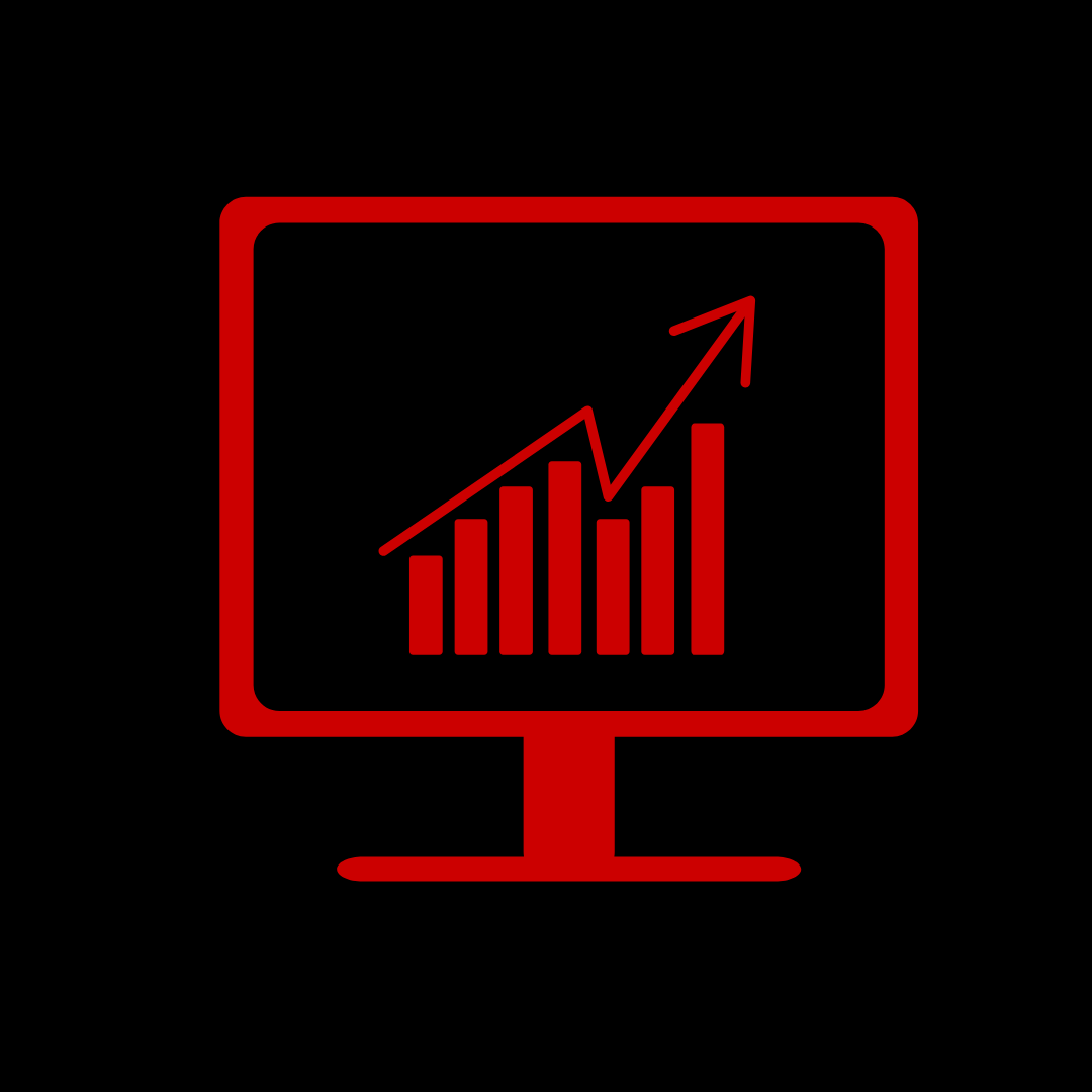 Illustration of red monitor with bar chart and arrow pointing up on black background