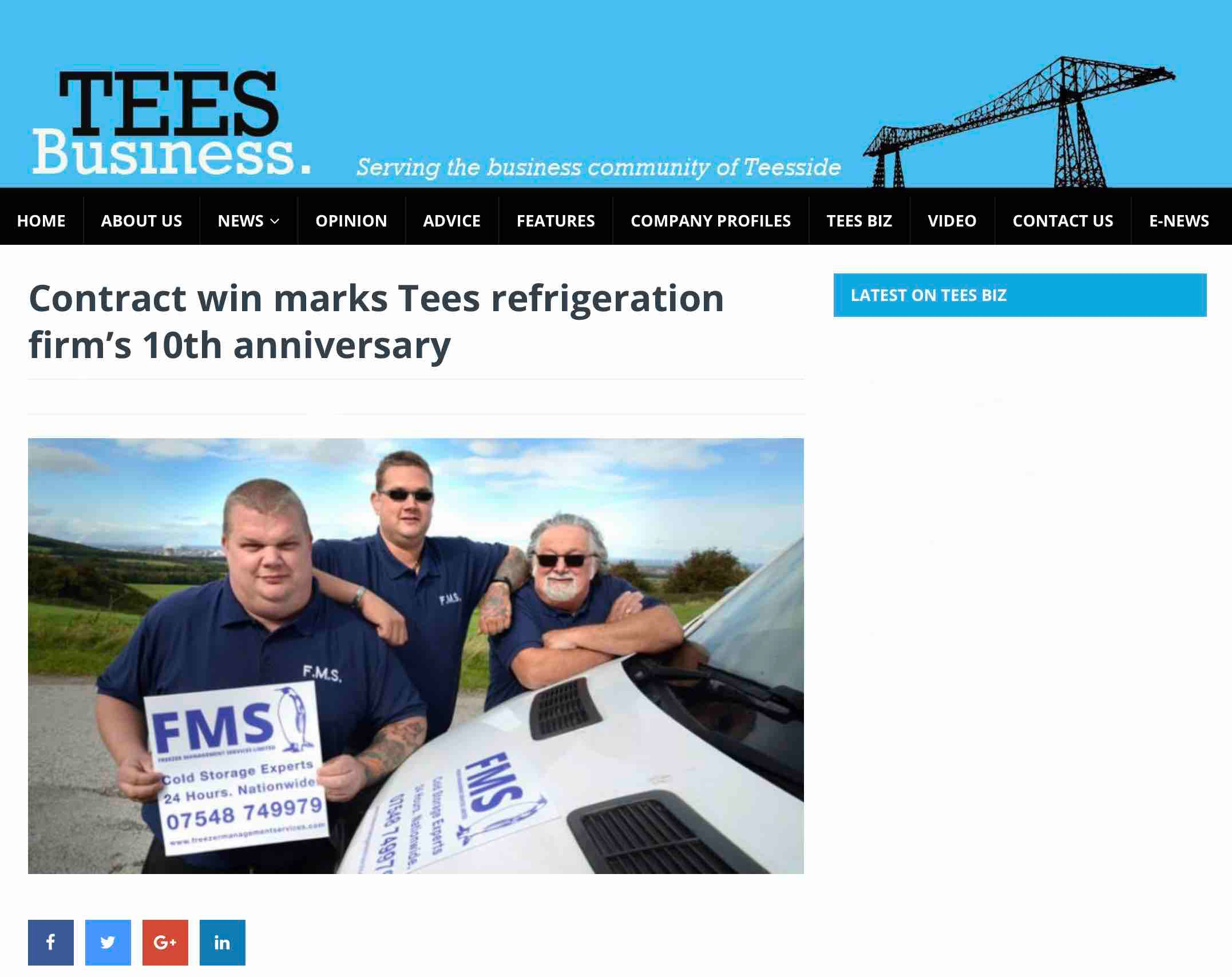 Press release Tees Business website promoting FMS 10th birthday
