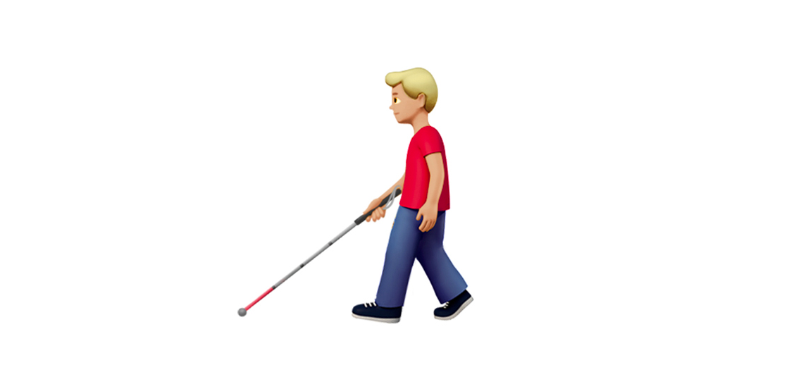 Person with a white cane emoji
