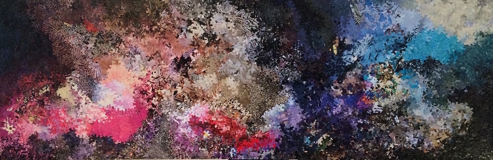 "Girl Meets Boy | 2015 | 45"" x 15"" | Paper, Resin, Canvas"