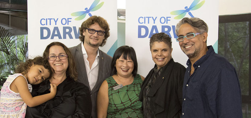Pictured above L to R – Dewi Wiasa with her mother Jessica Machin, Aurelien Scannella, The Right Hon. Katrina Fong Lim – Lord Mayor of Darwin, Deborah Cheetham AO, and Gary Lang. Photo by Huni Bolliger.