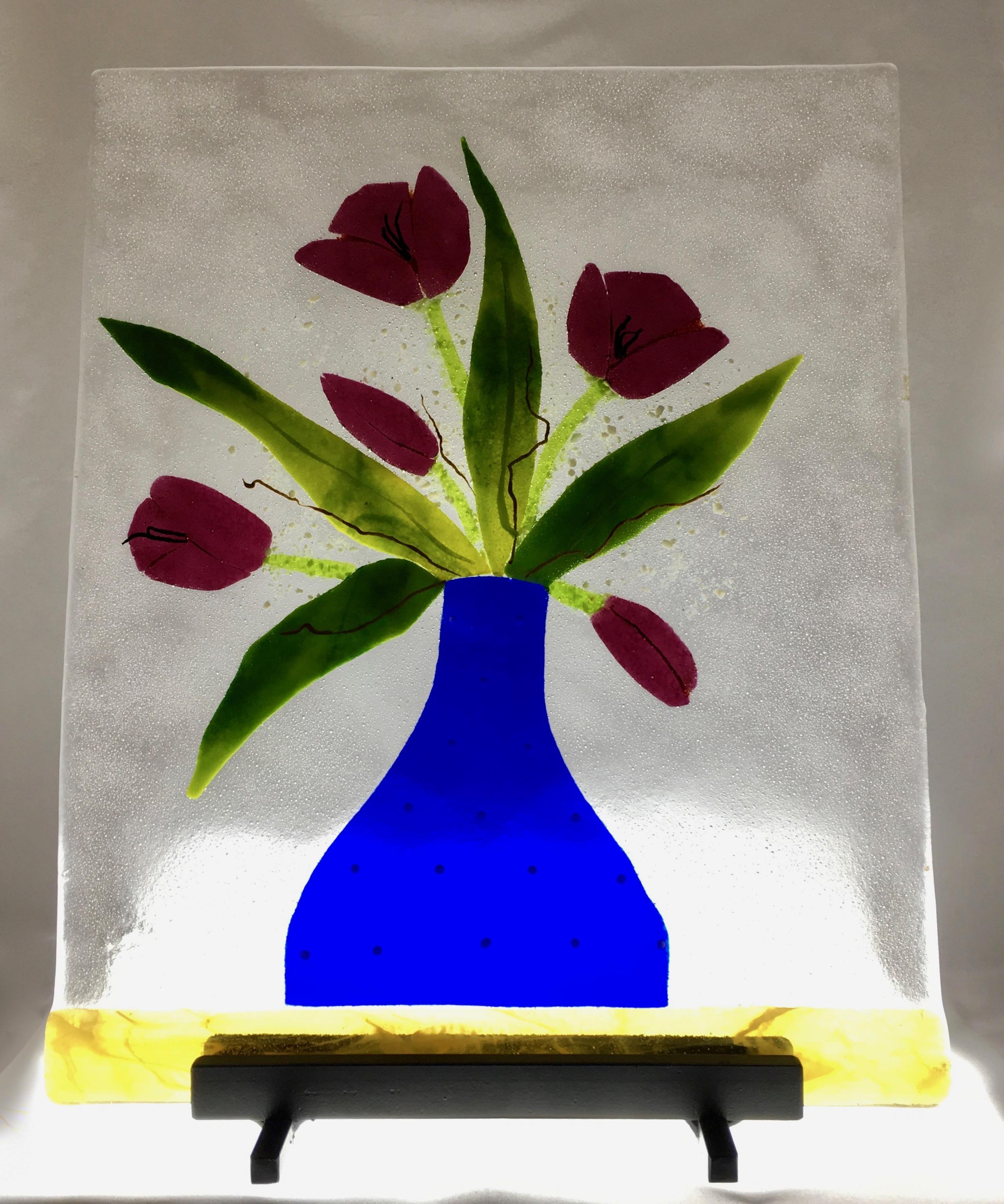"""Tulips in Cobalt - 15 1/8"""" x 12 1/8"""""""