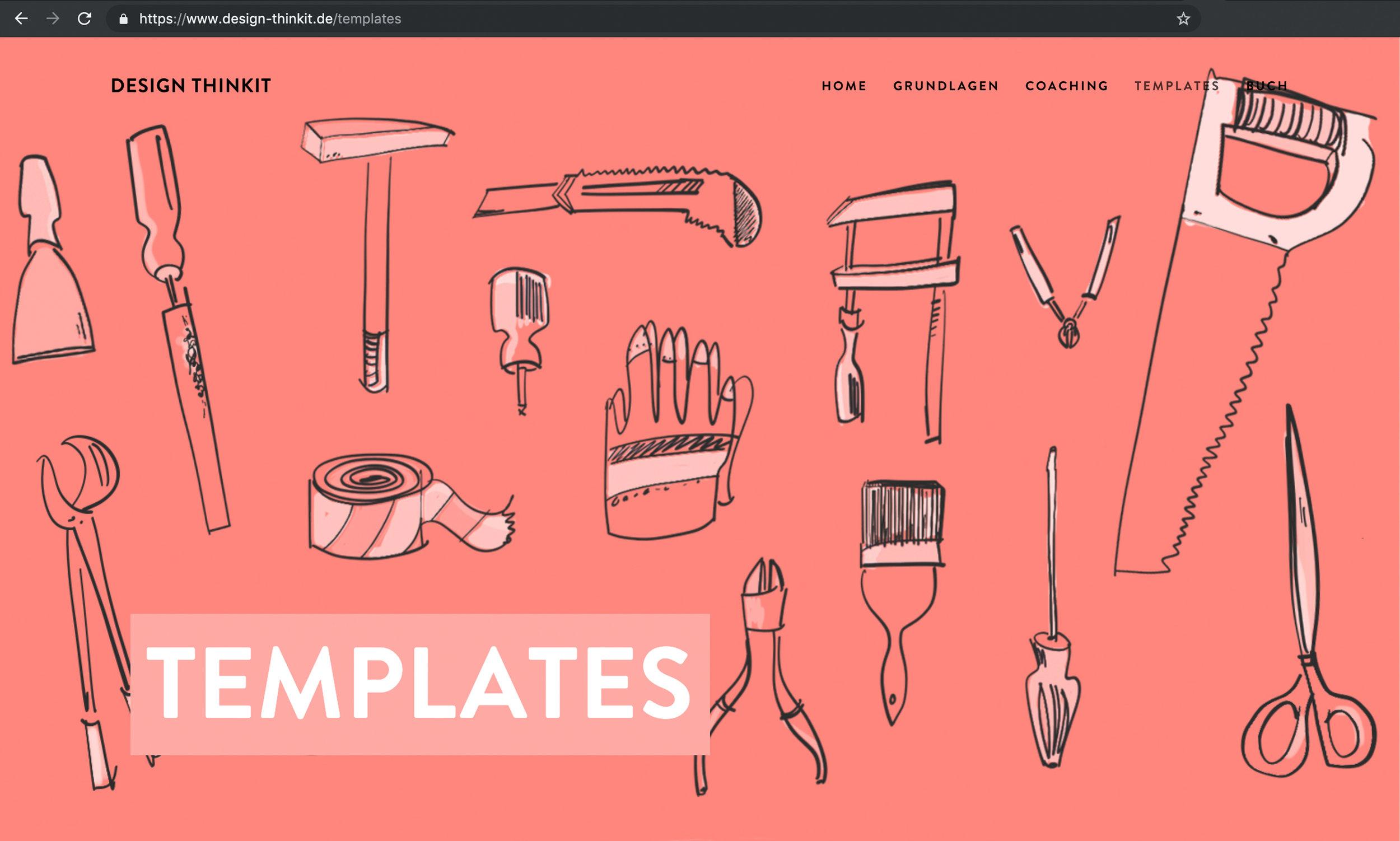 Unterseite Templates mit allen Methoden für Design Thinking Workshops auf Design-Thinkit.de